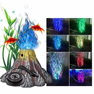 ZSLGOGO LED Lumiere Aquarium, Volcan Aquarium Decoration, Pierre à Air Aquarium, 7 Couleurs, 15x15x10cm