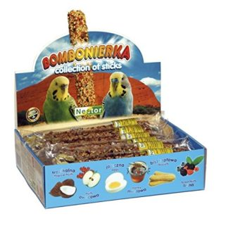 Bombonierka pour perruches collection de 12 bâtonnets de biscuits, oeufs, miel, fruits, fruits des bois, tropical