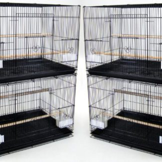 YML Medium Cages d'élevage, Lot de 4, Noir
